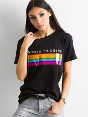 Czarny t-shirt damski z bawełny