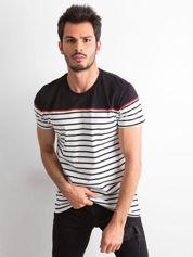 Czarny t-shirt męski w paski