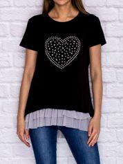 Czarny t-shirt z błyszczącą aplikacją i tiulową wstawką