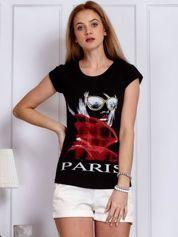 Czarny t-shirt z dziewczyną i napisem
