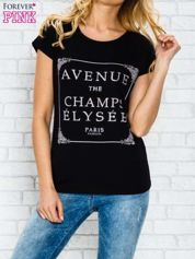 Czarny t-shirt z napisem AVENUE THE CHAMPS ÉLYSÉE