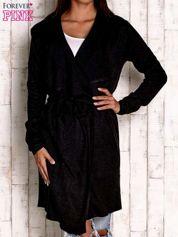 Czarny wełniany sweter z wiązaniem