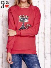 Czerwona bluza z cekinowym kotem