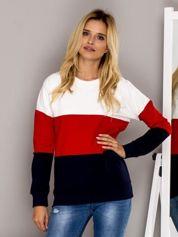 Czerwona bluza z kolorowymi modułami
