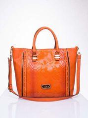Czerwona torba shopper bag z wzorem skóry węża