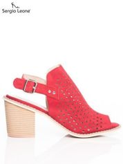 Czerwone ażurowe sandały Sergio Leone na szerokim klocku