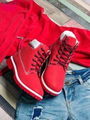 Czerwone buty trekkingowe damskie traperki ocieplane