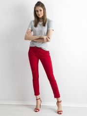 Czerwone spodnie z troczkami