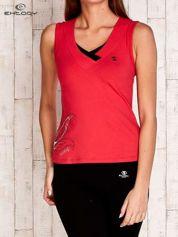 Czerwono-czarny top sportowy z nadrukiem