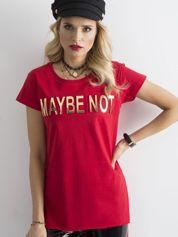 Czerwony długi t-shirt z napisem