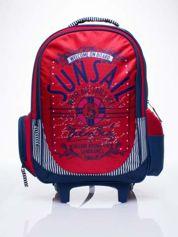 Czerwony plecak szkolny na kółkach walizka DISNEY z motywem żeglarskim