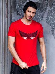Czerwony t-shirt męski z orłem