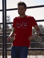 Czerwony t-shirt męski z wyścigowym napisem ROAD RACE