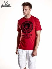Czerwony t-shirt męski ze zwierzęcym nadrukiem