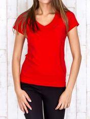 Czerwony t-shirt sportowy z pikowaną wstawką PLUS SIZE