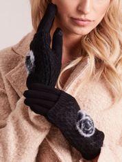 DOTYKOWE Czarne Rękawiczki MITENKI Z Puszkiem