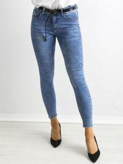 Denimowe spodnie z aplikacją na nogawkach niebieskie