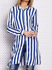 Długa koszula w paski niebieska