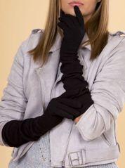 Długie Czarne Ocieplane Rękawiczki Damskie Z Dżetami 50 cm