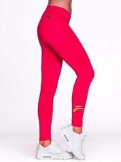 Długie legginsy do biegania z kolorowym printem fuksjowe
