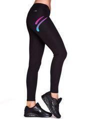 Długie legginsy do biegania ze sportowym szczegółem czarne