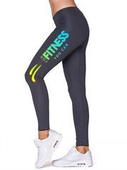 Długie legginsy fitness z kolorowym nadrukiem na boku grafitowe