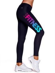 Długie legginsy na fitness z napisem ombre czarne