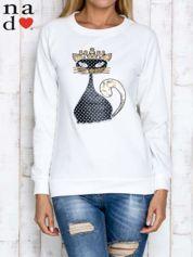 Ecru bluza z cekinowym kotem