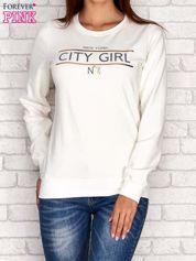 Ecru bluza z napisem CITY GIRL