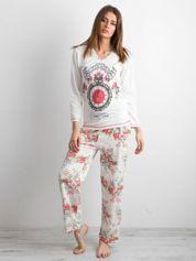 Ecru piżama damska w retro kwiaty