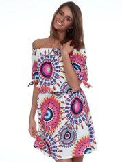 Ecru sukienka w duże kolorowe wzory