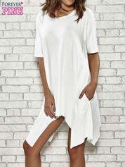 Ecru sukienka z wydłużanymi bokami