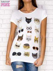 Ecru t-shirt nadruk kotów