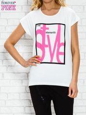 Ecru t-shirt z napisem STYLE z dżetami