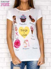 Ecru t-shirt z napisem THINGS I LOVE