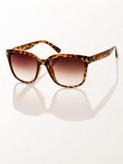 FASHION damskie okulary przeciwsłoneczne panterka, szkło dymione brązowe