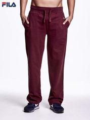 FILA Bordowe welurowe spodnie dresowe męskie z kieszeniami
