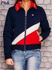 FILA Granatowa kurtka z kolorowym kołnierzem