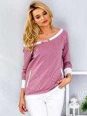 Fioletowa bluza z kontrastowymi ściągaczami i perełkami