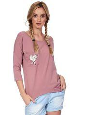 Fioletowa bluzka z serduszkiem z perełek