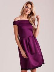 Fioletowa rozkloszowana sukienka z pianki