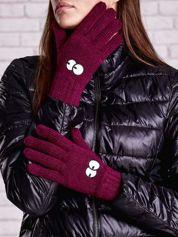 Fioletowe rękawiczki z nadrukiem oczu