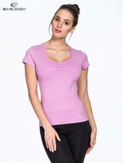 Fioletowy damski t-shirt sportowy z dżetami