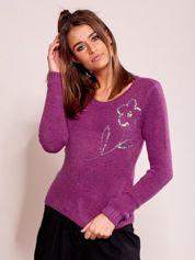 Fioletowy sweter damski z cekinami