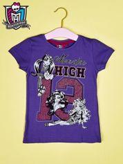Butik Fioletowy t-shirt dla dziewczynki MONSTER HIGH z brokatowym nadrukiem