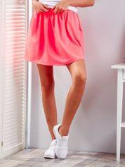 Fluo różowa rozkloszowana dresowa spódnica z kieszeniami