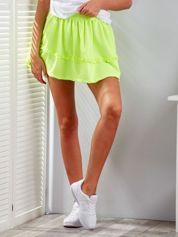 Fluo żółta warstwowa spódnica z falbanką
