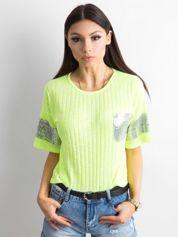 Fluo żółty prążkowany t-shirt z cekinami