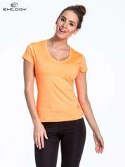 Fluopomarańczowy t-shirt sportowy w paseczki