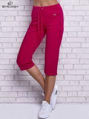 Fuksjowe spodnie capri z wszytymi kieszonkami